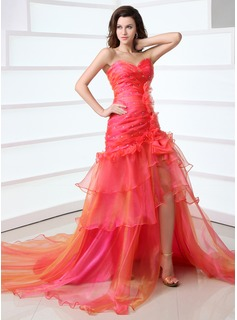 Robe de Bal de Promo Ligne-A/Princesse Cur Trane Chapelle Organza Robe de Bal de Promo avec Ondul Brod (018017330)