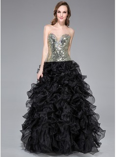 Ball-Gown Sweetheart Floor-Length Organza Sequined Prom Dress With Beading Cascading Ruffles (018045000)