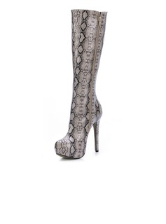Patent Leather Stiletto Heel Knee High Boots With Animal Print shoes (088036358)