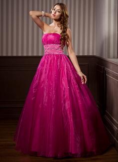 Duchesse-Linie Trägerlos Bodenlang Organza Quinceañera Kleid (Kleid für die Geburtstagsfeier) mit Rüschen Perlen verziert (021014267)