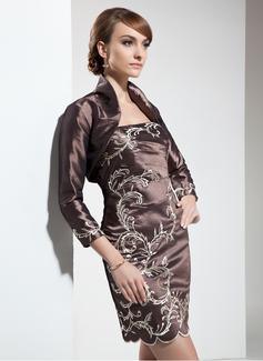 Etui-Linie Trägerlos Kurz/Mini Taft Kleid für die Brautmutter mit Bestickt Perlen verziert (008006029)
