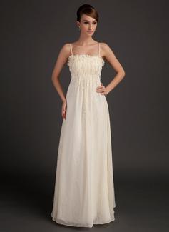A-Linie/Princess-Linie Bodenlang Chiffon Festliche Kleid mit Rüschen Perlen verziert Blumen (020015508)