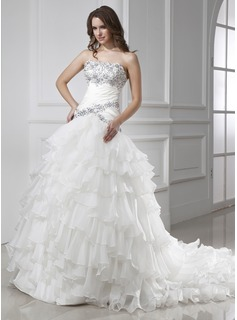 Ball-Gown Strapless Chapel Train Organza Satin Wedding Dress With Beading Cascading Ruffles (002015455)