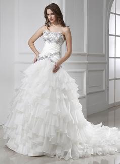 Ball-Gown Strapless Chapel Train Organza Satin Wedding Dress With Beading Cascading Ruffles (002015455)