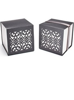 Chic Chinese Style Cubic Favor Boxes With Ribbons (Set of 12) (050025741)