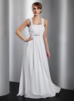 A-Linie/Princess-Linie Bodenlang Chiffon Abendkleid mit Rüschen Perlen verziert Schleife(n) (017014832)