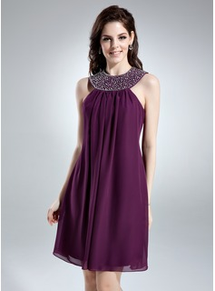 A-Line/Princess Scoop Neck Knee-Length Chiffon Homecoming Dress With Ruffle Beading (022010455)