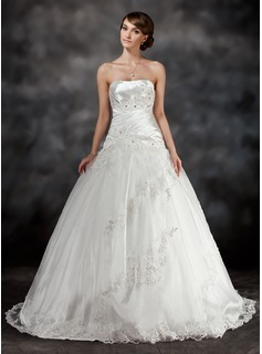 Ball-Gown Sweetheart Sweep Train Charmeuse Tulle Wedding Dress With Ruffle Beading Appliques Lace (002017430)