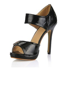 Patent Leather Stiletto Heel Sandals Peep Toe With Buckle shoes (085016993)