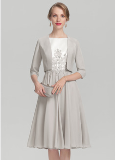 A-Linie/Princess-Linie U-Ausschnitt Knielang Chiffon Satin Kleid für die Brautmutter mit Perlstickerei Applikationen Spitze (008131929)