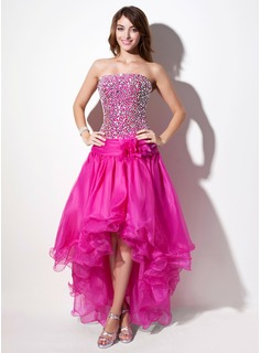 A-Line/Princess Strapless Asymmetrical Organza Prom Dresses With Beading (018022556)