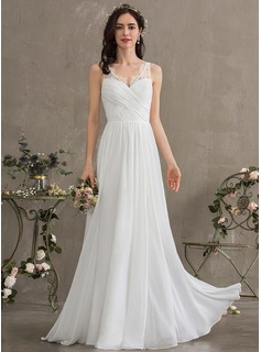 A-Line V-neck Floor-Length Chiffon Wedding Dress With Ruffle (002186366)