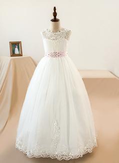 U-Ausschnitt Bodenlang Tüll Kleid für junge Brautjungfern mit Schleifenbänder/Stoffgürtel Perlstickerei Schleife(n) (009126270)