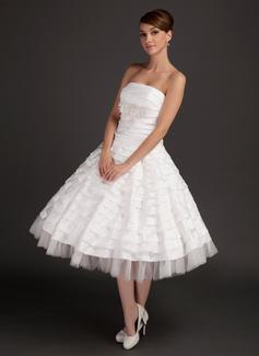 Forme Princesse Sans bretelle Longueur mollet Taffeta Tulle Robe de mariée avec Plissé Dentelle Emperler (002015544)