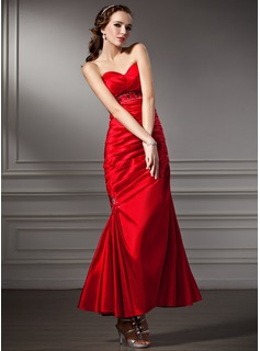 Trumpet/Mermaid Sweetheart Ankle-Length Taffeta Prom Dress With Ruffle Beading (018013816)