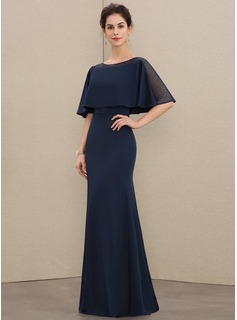 Sheath/Column Scoop Neck Floor-Length Jersey Mother of the Bride Dress With Beading (008179181)