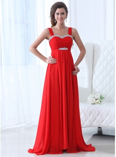 Evening Dresses Empire Sweetheart Sweep Train Chiffon Evening Dress With Ruffle Beading (017017358)