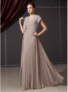 A-Line/Princess V-neck Floor-Length Chiffon Tulle Mother of the Bride Dress With Beading Appliques Sequins Pleated (008014237)