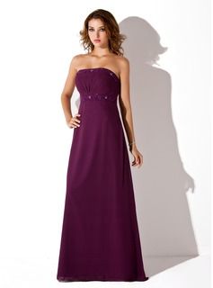 Burgundy Bridesmaid Dresses Empire Strapless Floor-Length Chiffon Bridesmaid Dress With Ruffle Beading (007001776)