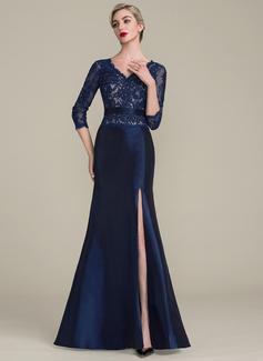 Trompete/Meerjungfrau-Linie V-Ausschnitt Bodenlang Taft Spitze Kleid für die Brautmutter mit Perlstickerei Pailletten Schlitz Vorn (008102704)