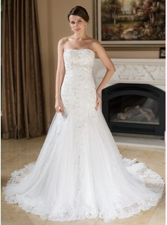 A-Line/Princess Sweetheart Chapel Train Satin Tulle Wedding Dress With Lace Beading Sequins (002000377)