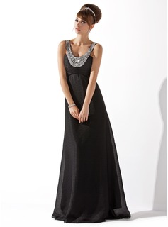 Cheap Evening Dresses Empire Scoop Neck Floor-Length Chiffon Evening Dress With Ruffle Beading (017013792)