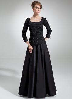 A-Linie/Princess-Linie Rechteckiger Ausschnitt Bodenlang Chiffon Satin Kleid für die Brautmutter mit Rüschen Perlstickerei Pailletten (008006314)
