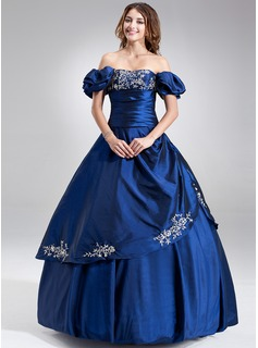 Ball-Gown Strapless Floor-Length Taffeta Quinceanera Dress With Embroidered Ruffle Beading (021002833)