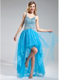 A-Line/Princess Sweetheart Asymmetrical Tulle Lace Prom Dress With Beading Sequins (018018992)