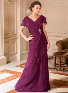 A-Linie/Princess-Linie V-Ausschnitt Bodenlang Chiffon Kleid für die Brautmutter mit Rüschen Perlen verziert (008024443)