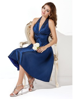 Cheap Bridesmaid Dresses A-Line/Princess Halter Knee-Length Taffeta Bridesmaid Dress With Ruffle (007000860)