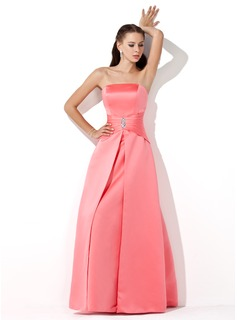A-Line/Princess Strapless Floor-Length Satin Bridesmaid Dress With Ruffle Beading (007001049)