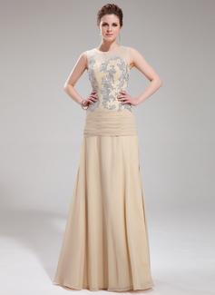 A-Linie/Princess-Linie U-Ausschnitt Bodenlang Chiffon Tüll Abendkleid mit Applikationen Spitze (017019753)