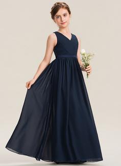 A-Linie V-Ausschnitt Bodenlang Chiffon Spitze Kleid für junge Brautjungfern mit Rüschen (009173292)