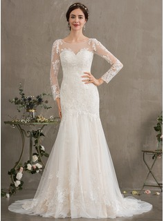 Trumpet/Mermaid Illusion Court Train Tulle Wedding Dress (002186371)