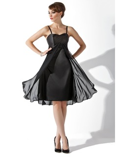 Empire Sweetheart Knee-Length Chiffon Charmeuse Bridesmaid Dress With Ruffle (007000808)