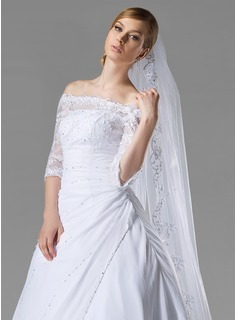 One-tier Lace Applique Edge Cathedral Bridal Veils With Applique/Sequin (006004053)