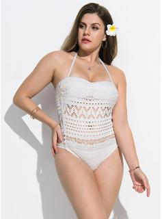Sexy Einfarbig Polyester Einteiliger Badeanzug (202164348)