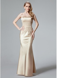 Cheap Evening Dresses Mermaid Sweetheart Floor-Length Charmeuse Evening Dress With Lace (017004466)