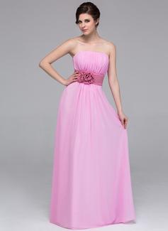 A-Line/Princess Strapless Floor-Length Chiffon Bridesmaid Dress With Sash Flower(s) (007037257)