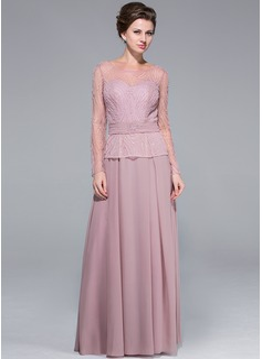 A-Linie/Princess-Linie U-Ausschnitt Bodenlang Chiffon Kleid für die Brautmutter mit Perlstickerei Pailletten (008025673)