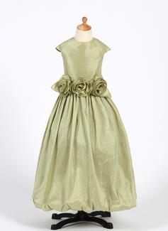 Princess Floor-length Flower Girl Dress - Taffeta Sleeveless Scoop Neck With Ruffles/Flower(s) (010016220)