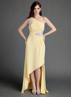 A-Linie/Princess-Linie One-Shoulder-Träger Asymmetrisch Chiffon Festliche Kleid mit Rüschen Perlen verziert Applikationen Spitze (020015683)