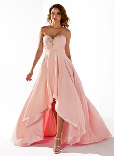 Prom Dresses Empire Sweetheart Asymmetrical Chiffon Prom Dress With Ruffle Beading (018020806)