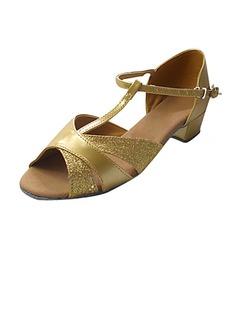 Frauen Kinder Funkelnde Glitzer Lackleder Sandalen Flache Schuhe Latin mit T-Riemen Tanzschuhe (053013359)