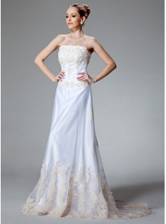 A-Line/Princess Strapless Court Train Satin Tulle Wedding Dress With Lace Beadwork (002000121)