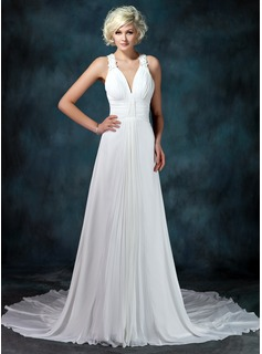 A-Line/Princess V-neck Chapel Train Chiffon Wedding Dress With Ruffle Beading Appliques (002001675)