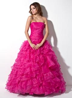 Duchesse-Linie Trägerlos Bodenlang Organza Quinceañera Kleid (Kleid für die Geburtstagsfeier) mit Gestufte Rüschen (021020809)