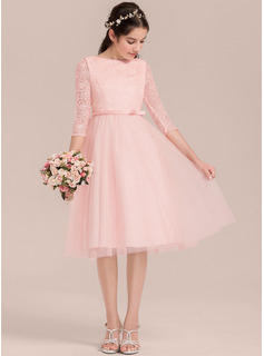 A-Line/Princess Knee-length Flower Girl Dress - Satin/Tulle/Lace 3/4 Sleeves Scoop Neck With Bow(s) (010144521)