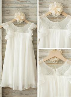 A-Linie/Princess-Linie U-Ausschnitt Knielang Chiffon Kleid für junge Brautjungfern mit Spitze (009126274)